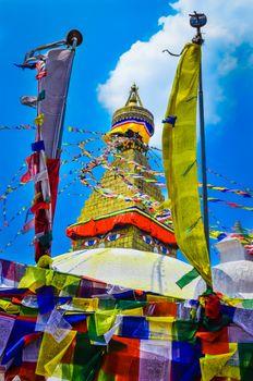 Bouddhanath stupa and buddhist flags