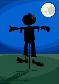 scarecrow at night cartoon illustration