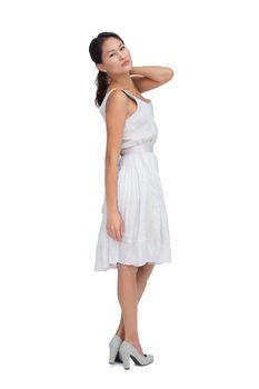 Feminine brunette posing