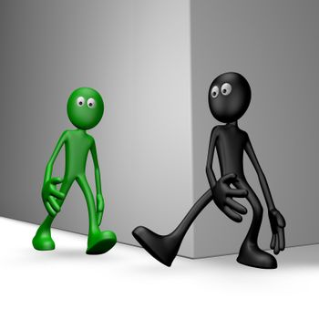black guy tries get green guy to stumble - 3d illustration