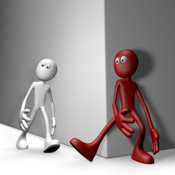 red guy tries get white guy to stumble - 3d illustration