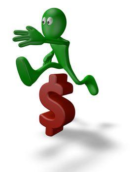 green guy jumps over dollar symbol - 3d illustration