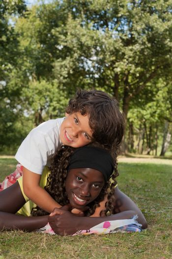 Happy african children having a nice dat at the park