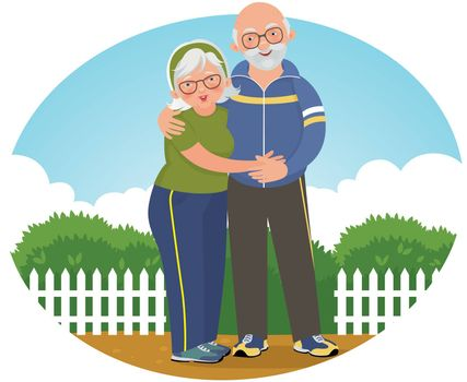 Vector illustration of an elderly couple in jogging suits in the park