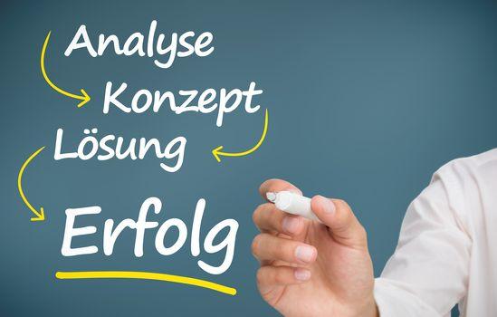 Businessman writing problem analyse konzept losung and erfolg
