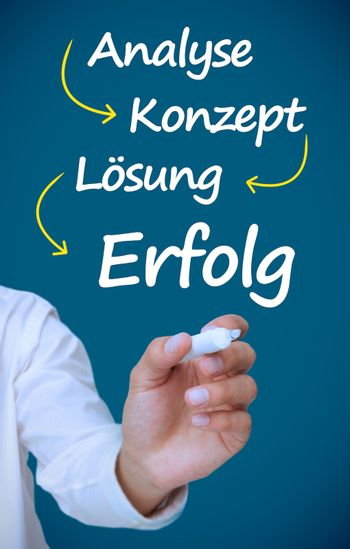 Businessman writing problem analyse konzept losung and erfolg in white