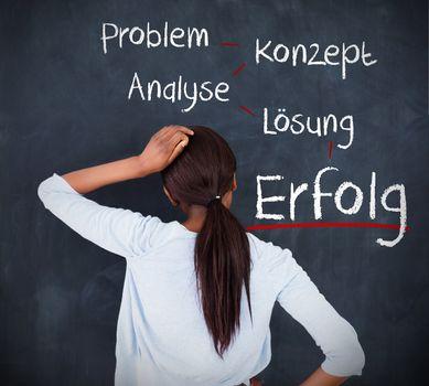 Woman having a brainstorm in german