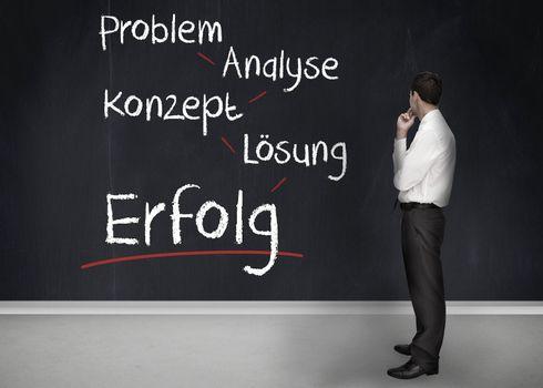 Businessman having a brainstorm in german