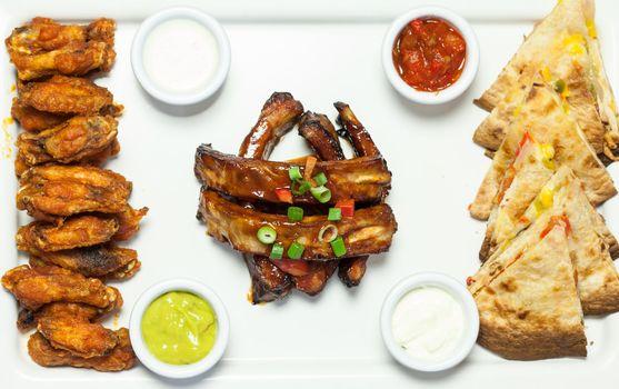 Overhead of an appetizing platter of finger food