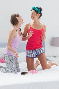 Girls having fun at slumber party