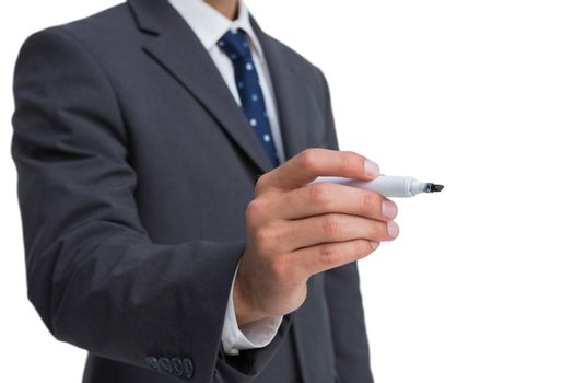 Classy businessman holding a marker