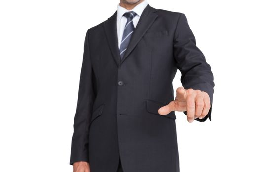 Classy businessman pointing finger