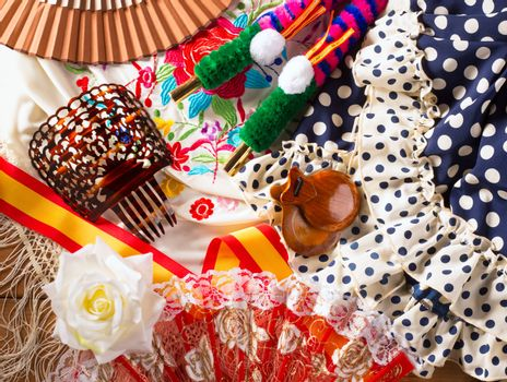 Espana typical from Spain with castanets rose flamenco fan