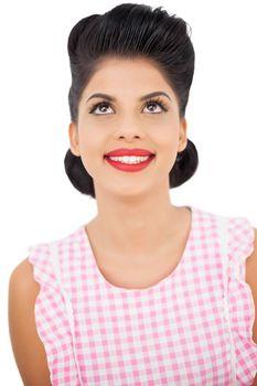 Smiling black hair model looking up