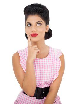 Satisfied black hair model looking away