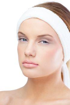 Relaxed blonde model wearing headband