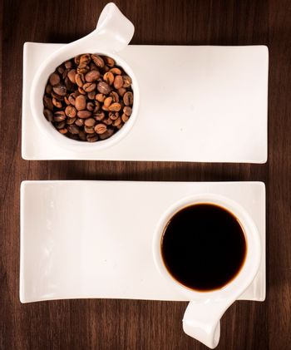 Raw dark coffee