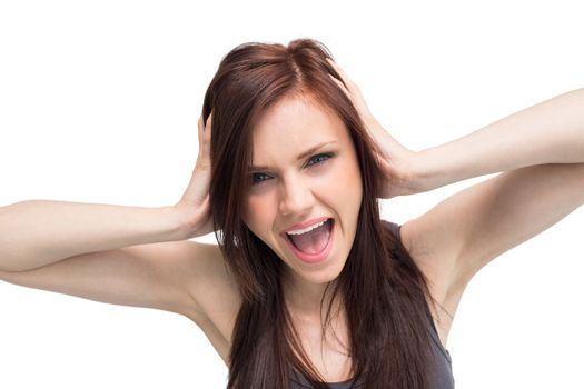 Close up on furious brunette shouting