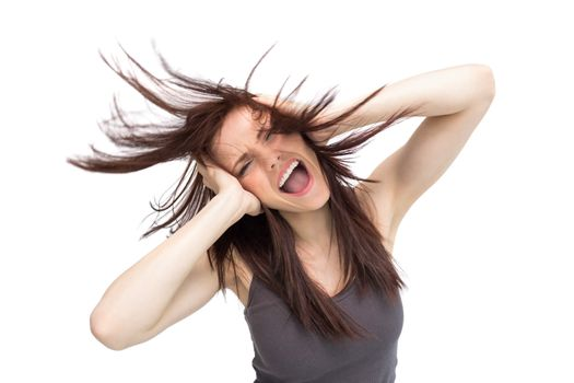 Furious pretty brunette tossing her hair