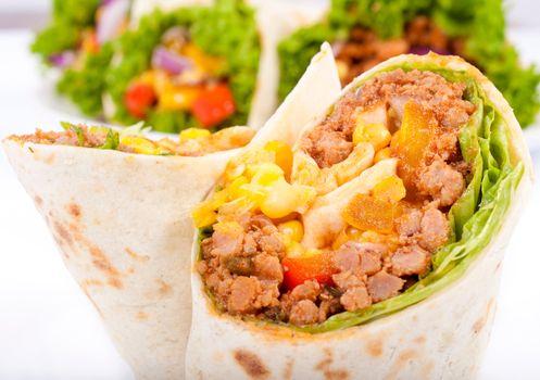 Close up to burrito