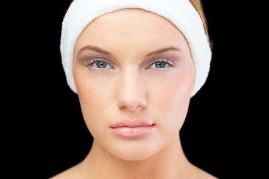 Peaceful blonde model wearing headband