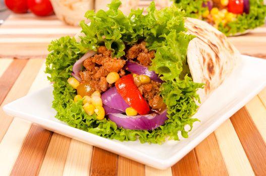Burrito on plate