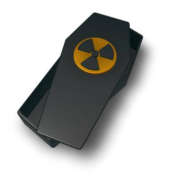 coffin with nuclear symbol on white background - 3d illustration