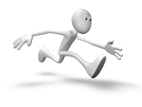 running white guy - 3d illustration