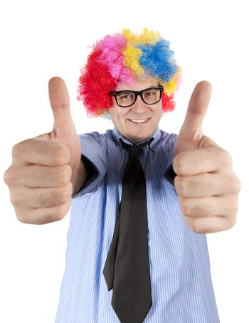 Ok sign by clown
