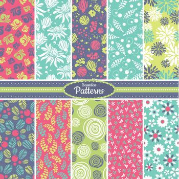 Collection of 10 floral colorful seamless pattern background. Great for web page backgrounds, wallpapers, interiors, home decor, apparel, etc. Vector file includes pattern swatch for each pattern.