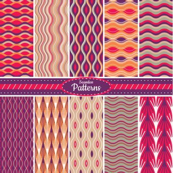 Collection of 10 geometric colorful seamless pattern background. Great for web page backgrounds, wallpapers, interiors, home decor, apparel, etc. Vector file includes pattern swatch for each pattern.