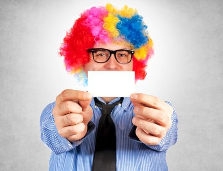 Clown with blank card