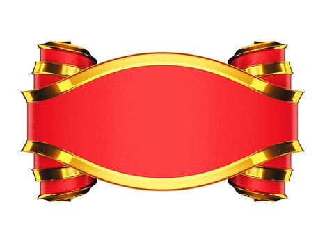Massive red emblem with golden edging and curles