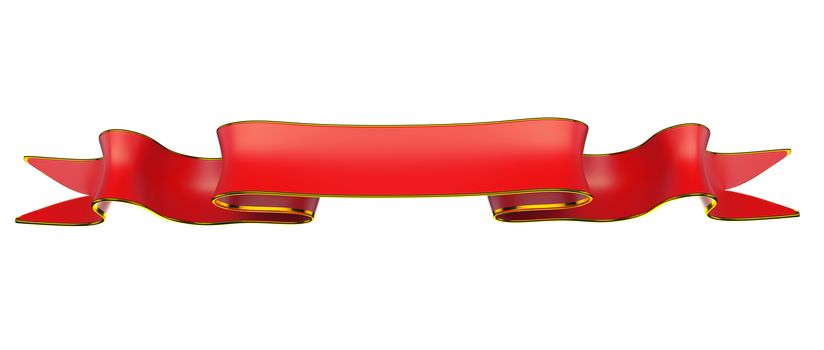 Red ribbon with golden edging useful as badge or emblem