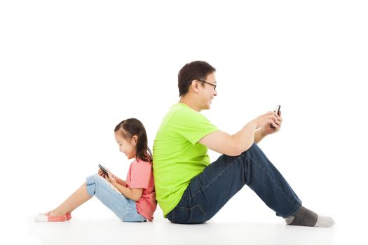 communication between father and child by tablet pc