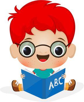 Illustration of a school boy reading
