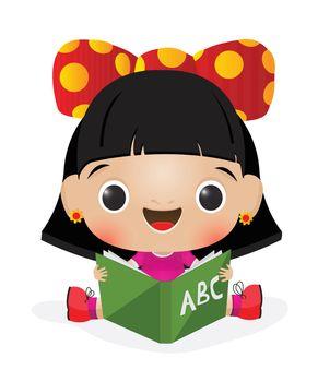 Illustration of a schoolgirl reading