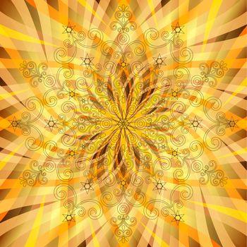 Vintage orange-gold pattern with translucent rays
