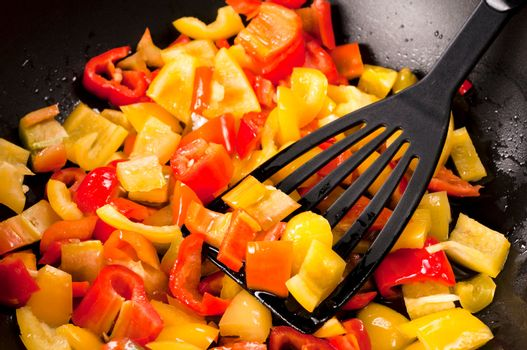 Peppers in pan