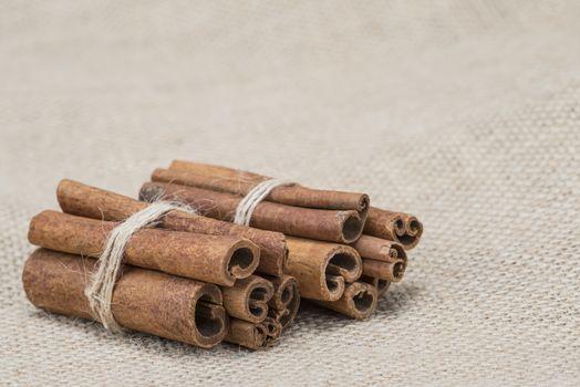 Cinnamon sticks on a piece of burlap