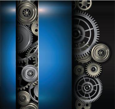 Background metallic gears and cogwheels, technology vector illustration.
