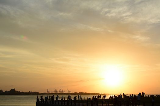 Famous sunset in Tamsui