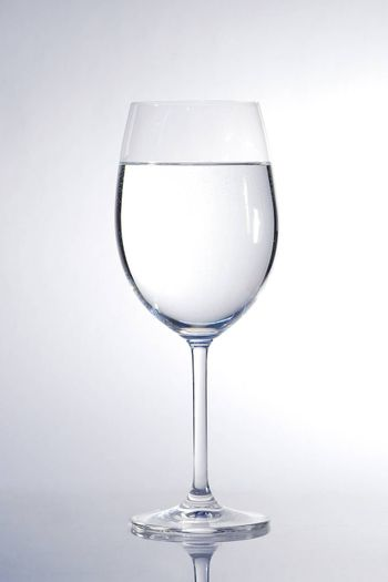 clear water glass in portrait view