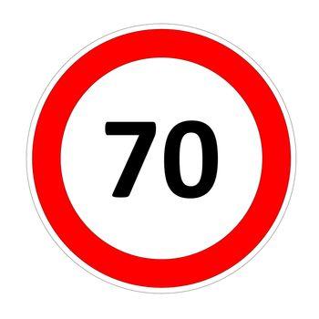 70 speed limit sign