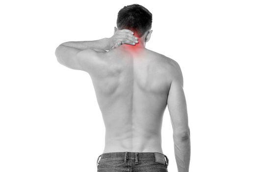 Young man having neck ache