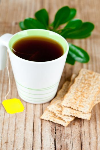 cup of tea and cereal crackers