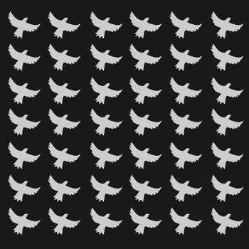 seamless birds pattern, black background