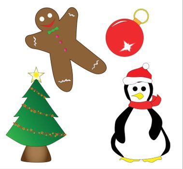 A collection of Christmas icons.