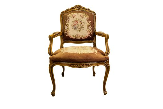 French XIX century antique chair made from oak wood isolated on white.