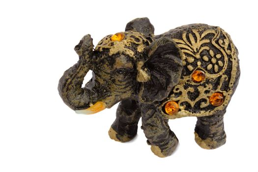 Cute souvenir - a figurine of a baby elephant, decorated with amber.